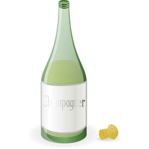 Vector graphics of bottle of champagne