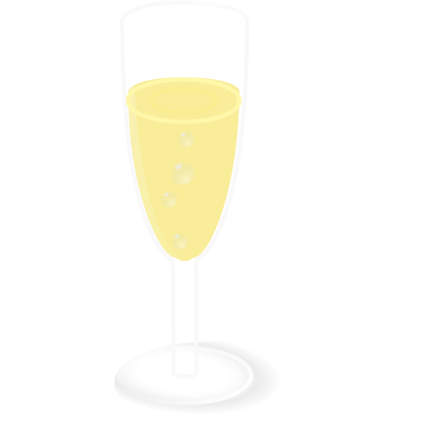 Vector drawing of glass of champagne