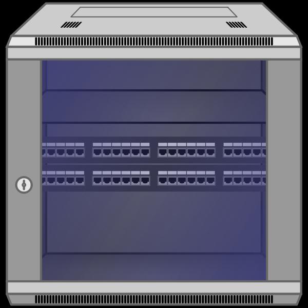 Wall-mounted network rack vector image