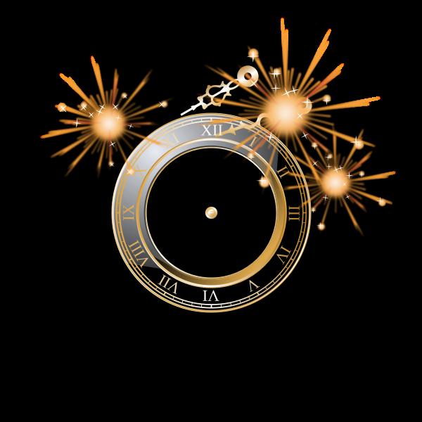 New Year celebration clock vector image