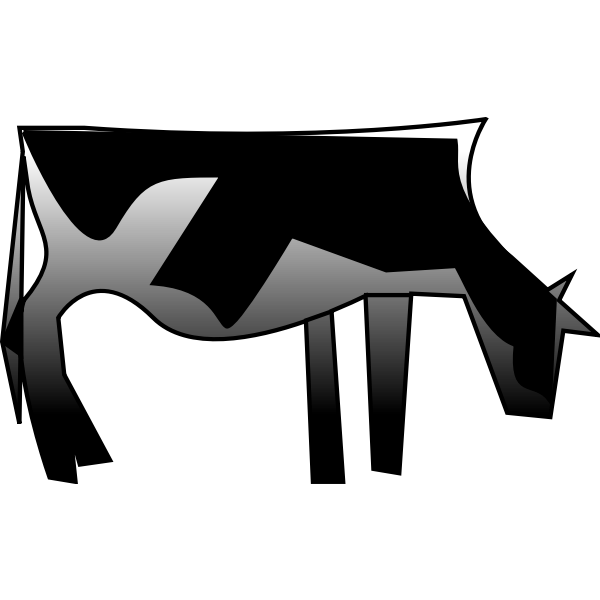 Vector clip art of greyscale cow
