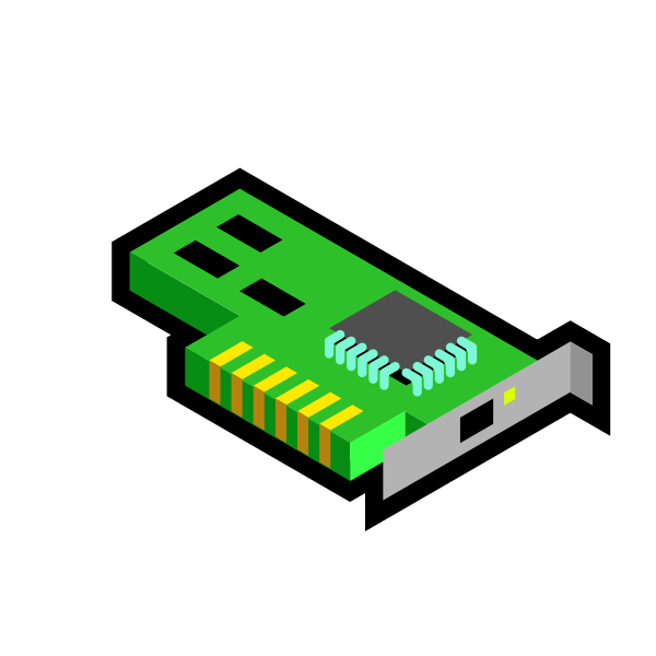 Vector illustration of green 3D network card icon