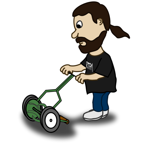 Vector graphics of bearded guy pushing a reel mower