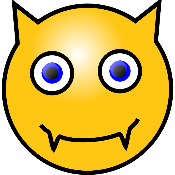 Vector image of devilish emoticon