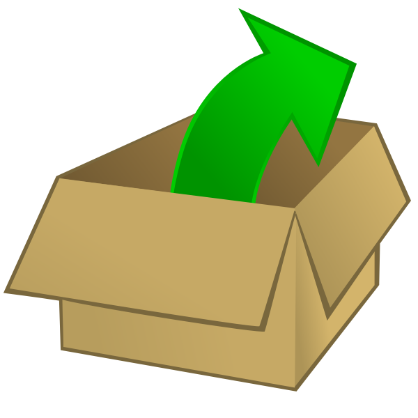 Vector clip art of cardboard box with an outward arrow