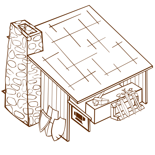 Vector drawing of role play game map icon for a blacksmith
