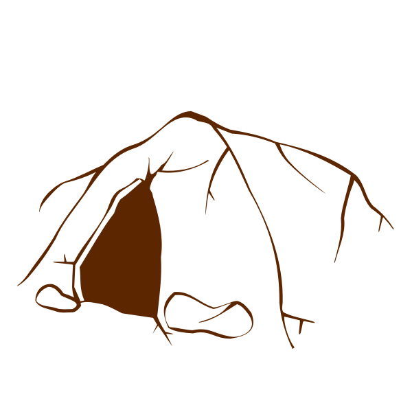 Vector drawing of role play game map icon for a cave entrance