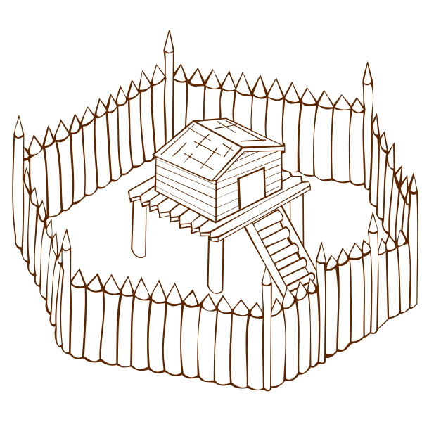 Vector graphics of role play game map icon for a wooden fort