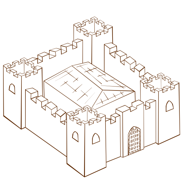 Vector clip art of role play game map icon for a fortress