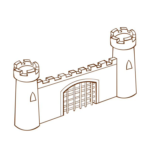 Vector illustration of role play game map icon for a fortress gate