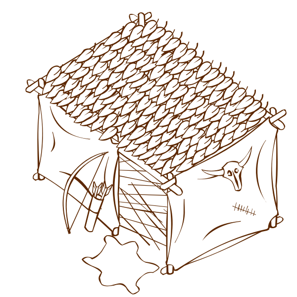 Vector graphics of role play game map icon for a hunter's tent