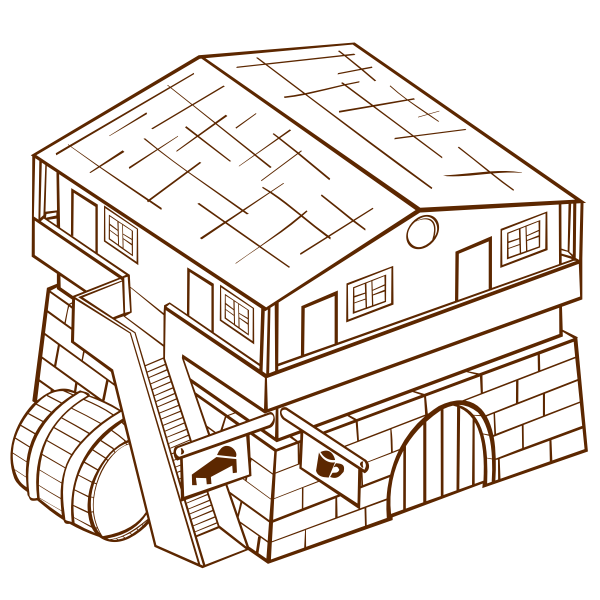 Vector clip art of role play game map icon for an inn