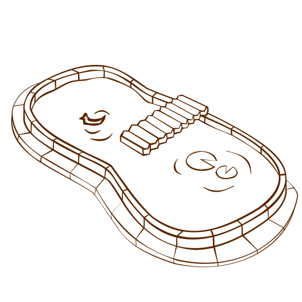 Vector image of role play game map icon for a pond