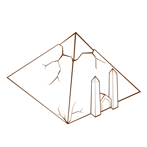 Vector drawing of role play game map icon for a pyramid