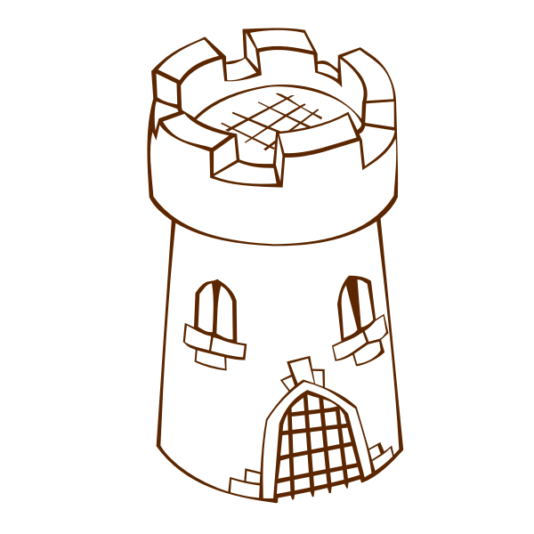 Vector drawing of role play game map icon for a round tower