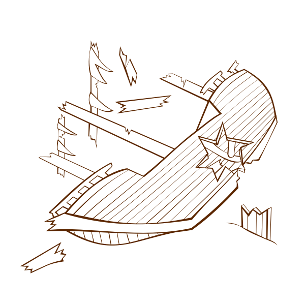 Vector illustration of role play game map icon for a shipwreck