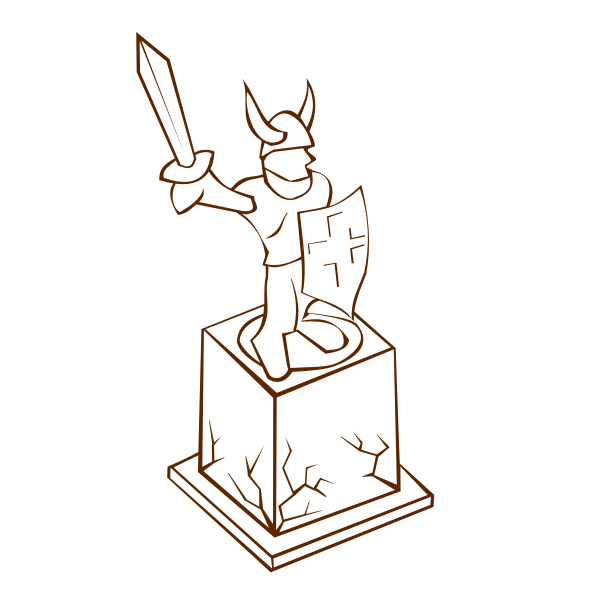 Vector clip art of role play game map icon for a statue