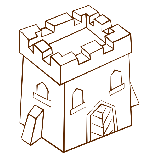 Vector clip art of role play game map icon for a tower square