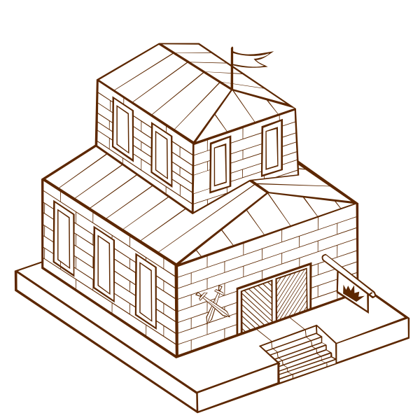 Vector image of role play game map icon for a townhall