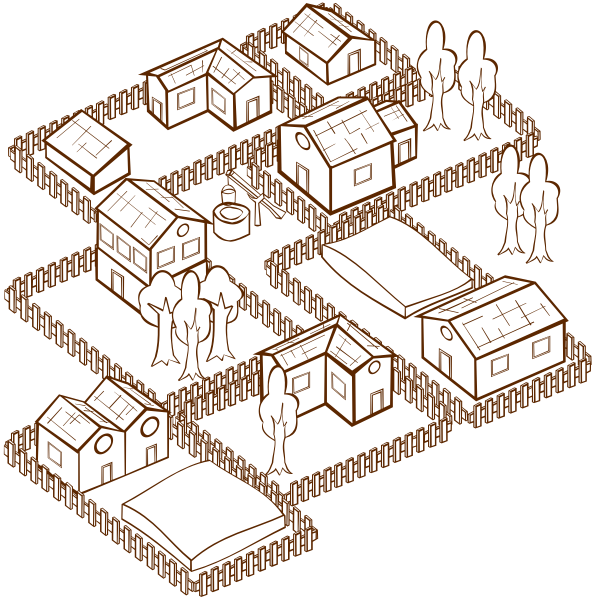 Vector image of role play game map icon for a village