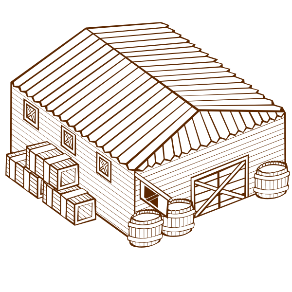 Vector graphics of role play game map icon for a warehouse