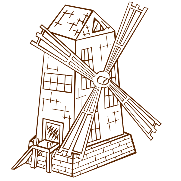 Vector illustration of role play game map icon for a windmill