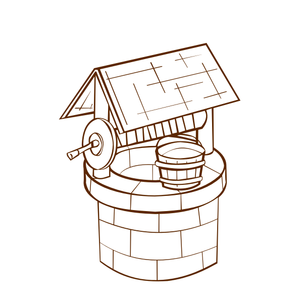 Vector image of role play game map icon for a wishing well