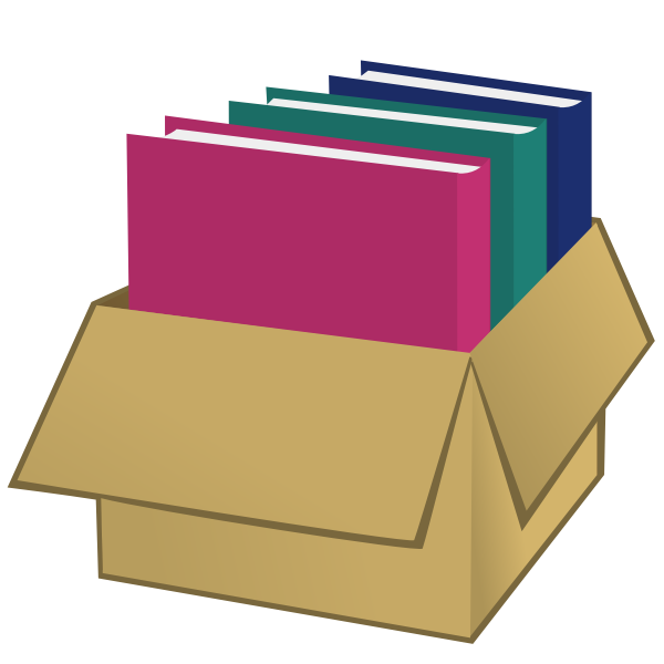 Box with folders vector drawing