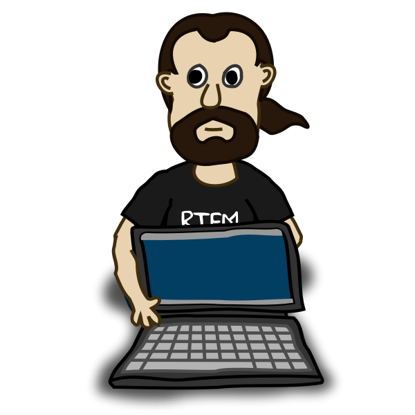 Comic character with a laptop vector image