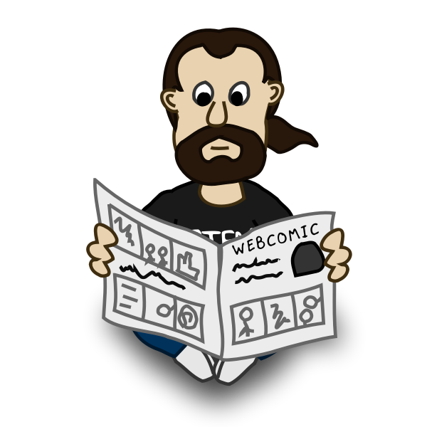 Newspaper reader comic character vector drawing