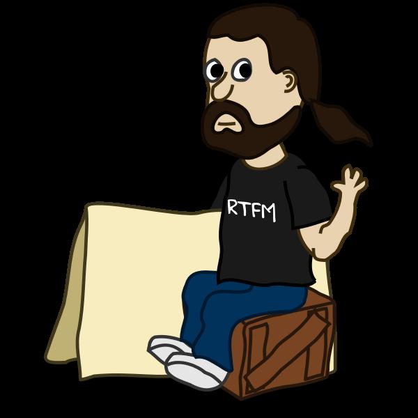 Sitting man comic character vector image