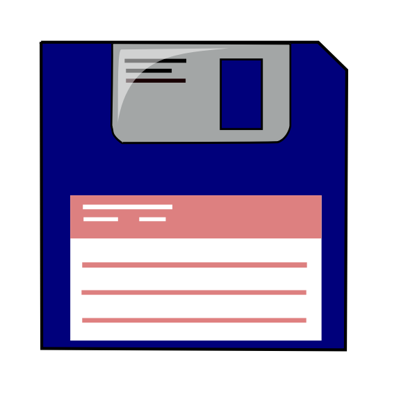 Labelled blue floppy disk vector clip art