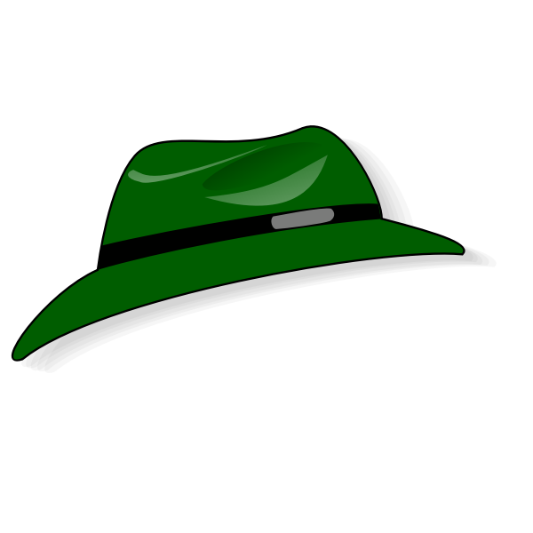 Green Fedora hat vector clip art