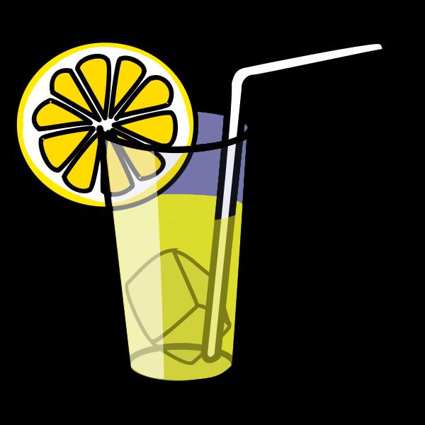 Vector drawing of lemonade in glass