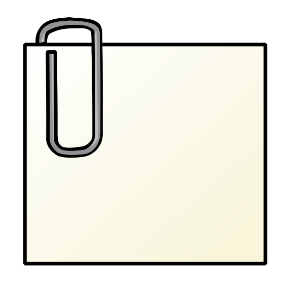 Note with paperclip vector clip art