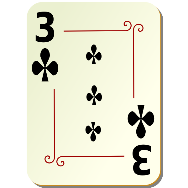 Three of clubs vector drawing