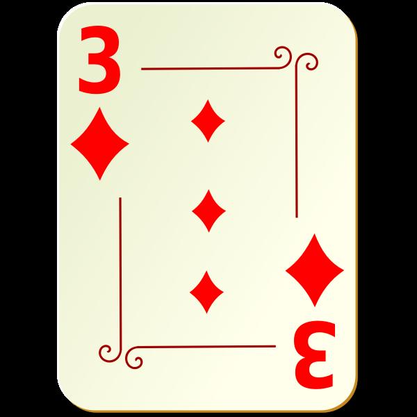 Three of diamonds vector illustration