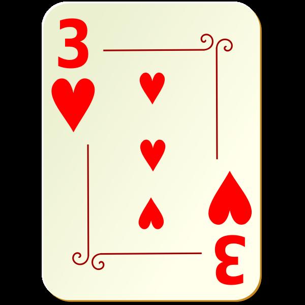 Three of hearts vector illustration