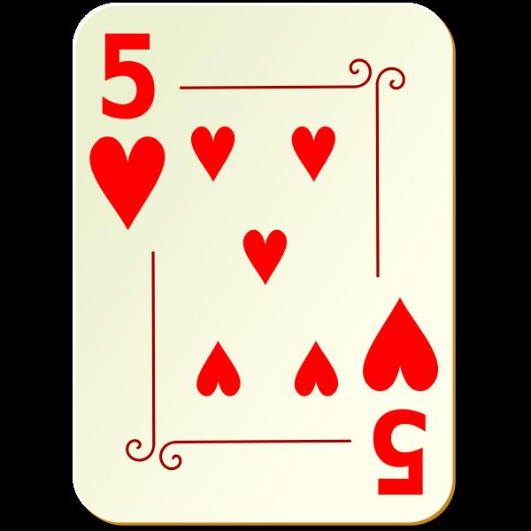 Five of hearts vector clip art