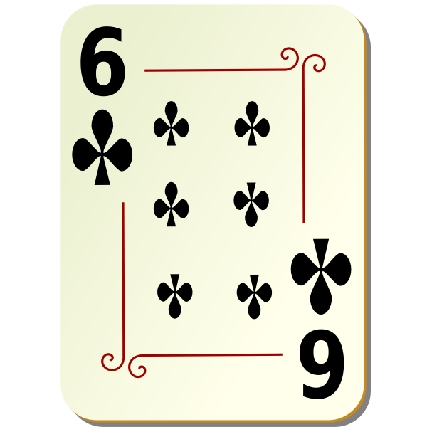 Six of clubs vector clip art