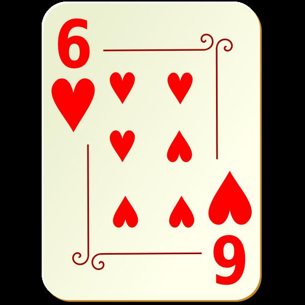 Six of hearts vector graphics