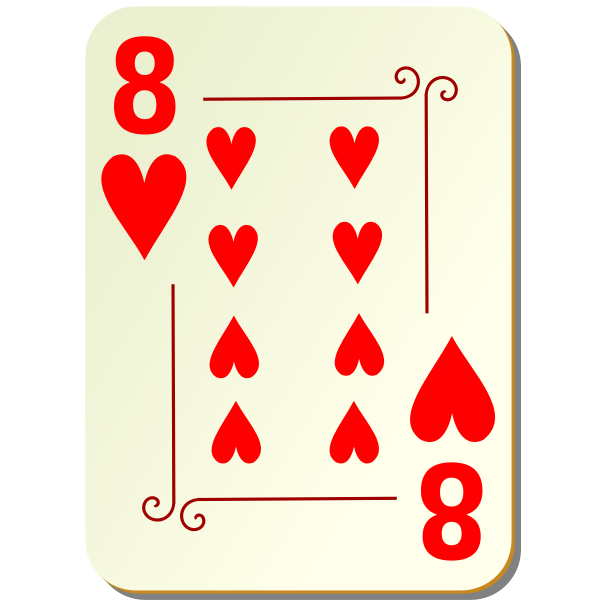 Eight of hearts vector illustration