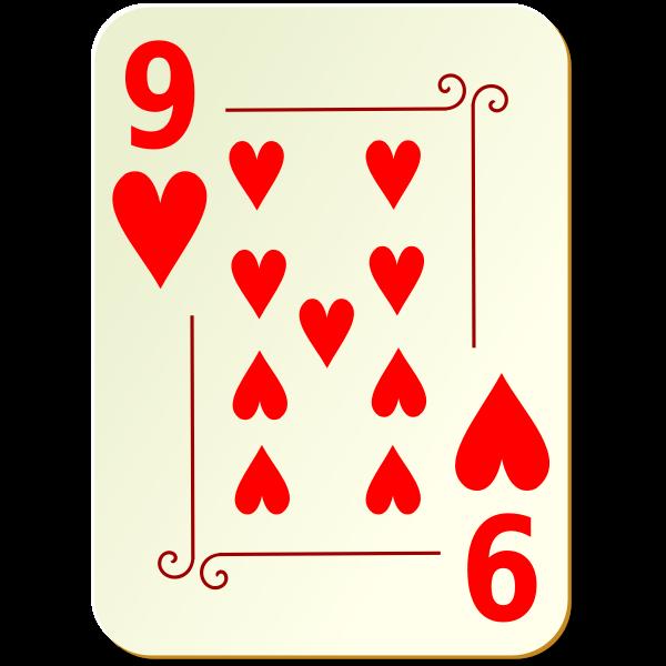 Nine of hearts vector image