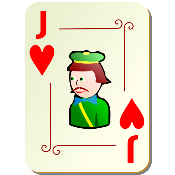 Joker of hearts vector drawing