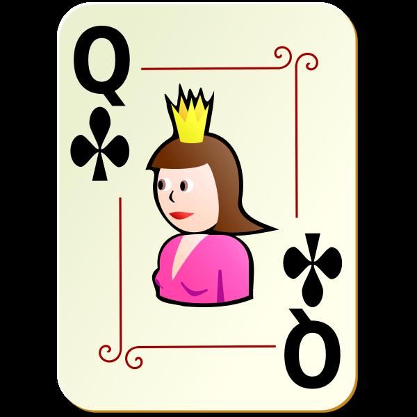 Queen of clubs vector clip art