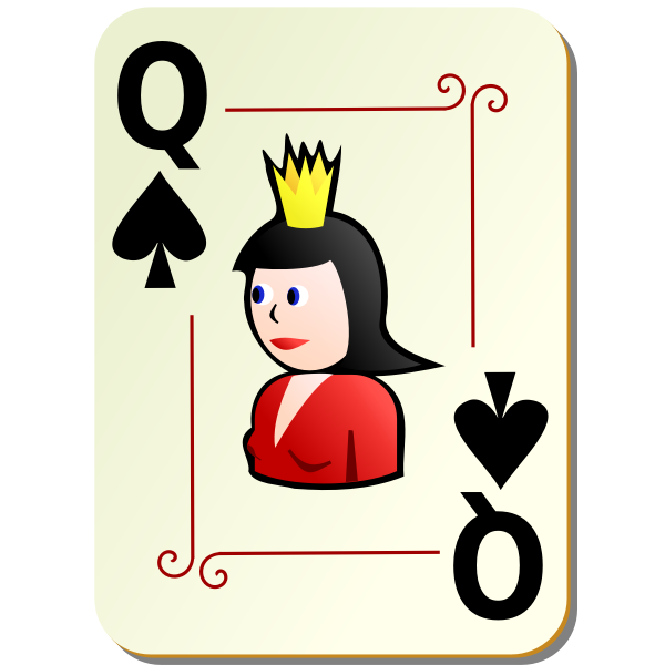 Queen of spades playing card vector illustration
