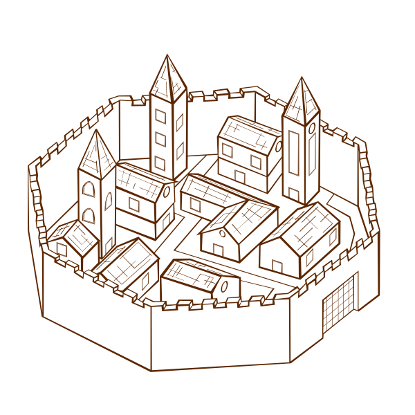 City in walls RPG map symbol vector image
