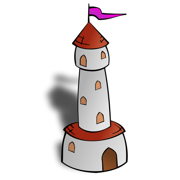 Round Tower with Flag Vector