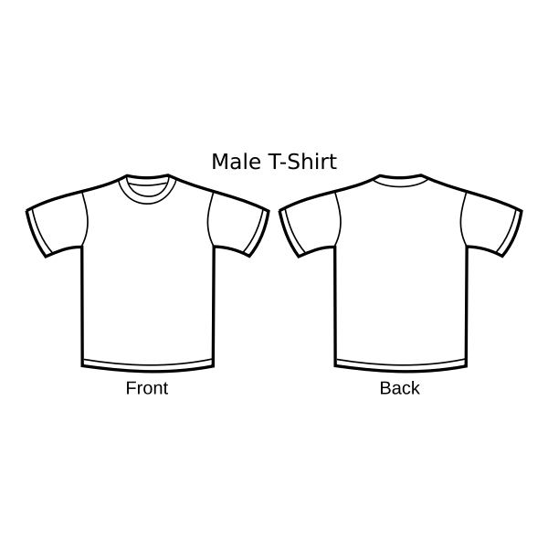 Male t-shirt template vector drawing