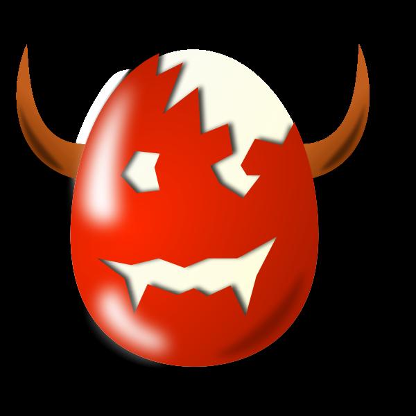 Evil Easter egg shell vector drawing